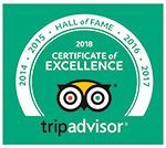 Tripadvisor certificate of excellence 2018, Hall of Fame