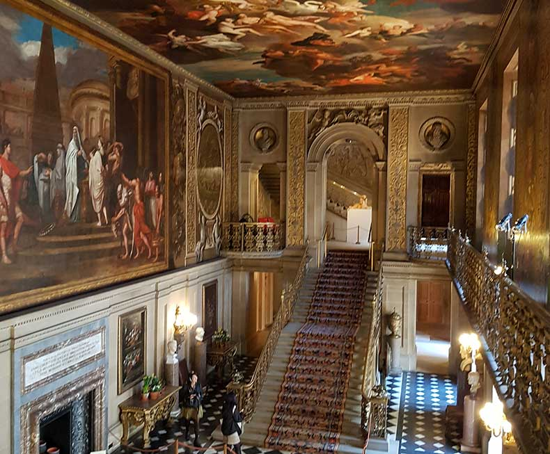 Chatsworth Hall with painted ceiling and grand staircase