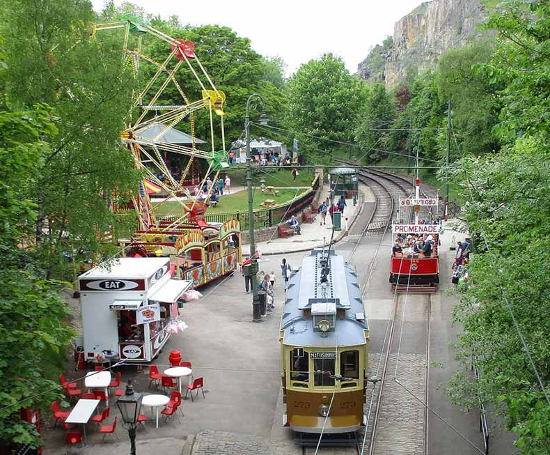 Tramways and ferris wheel and Crich Tramway Museum