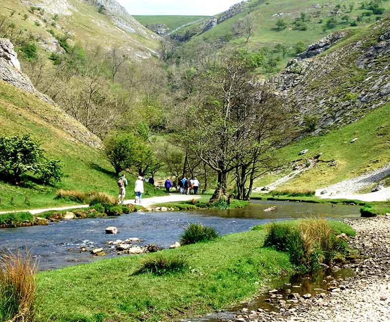 View across River Dove in the Dovedale valley