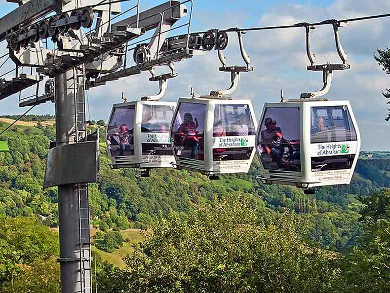 The Heights of Abraham cable cars above Matlock