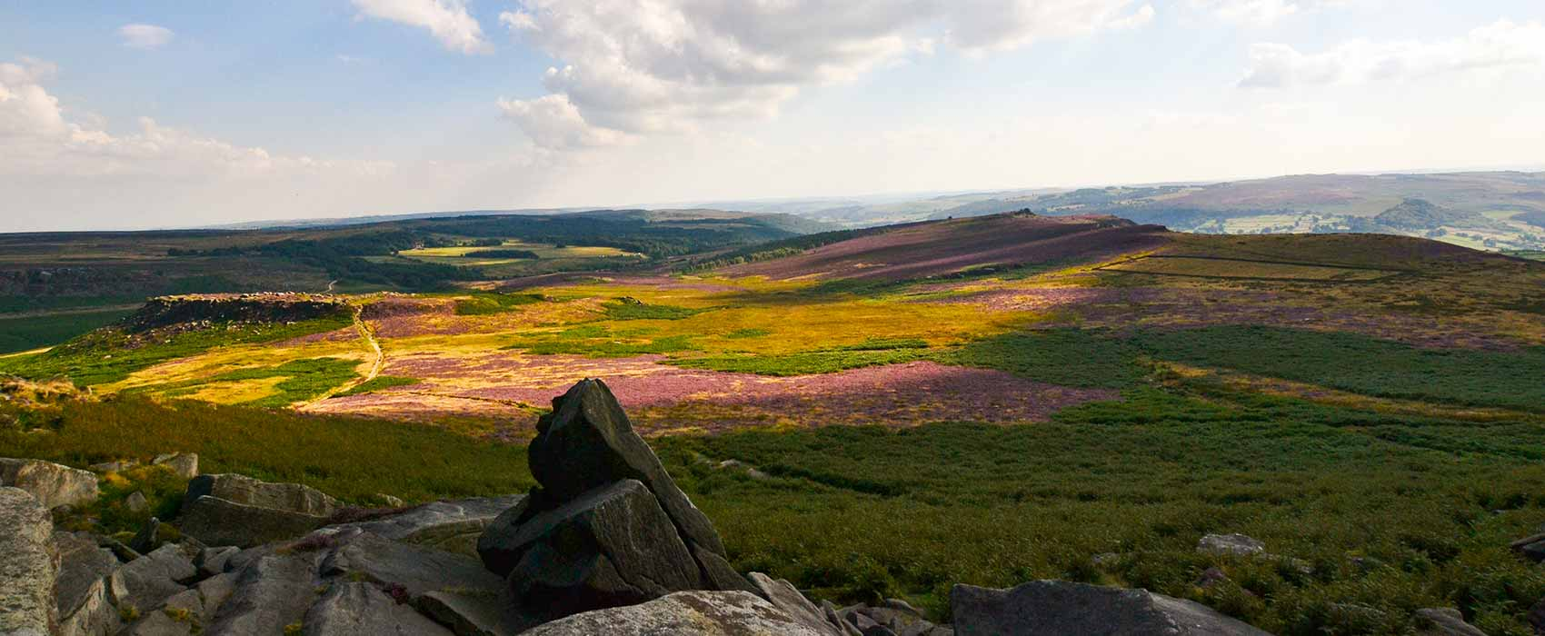 View across the heather form Carl Wark in Peak District