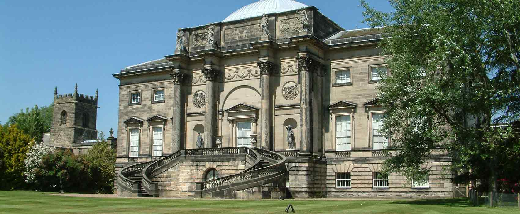 View or rear of Kedleston Hall across the grass