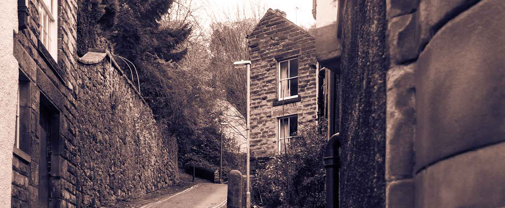 Black and white picture of Matlock Bath houses