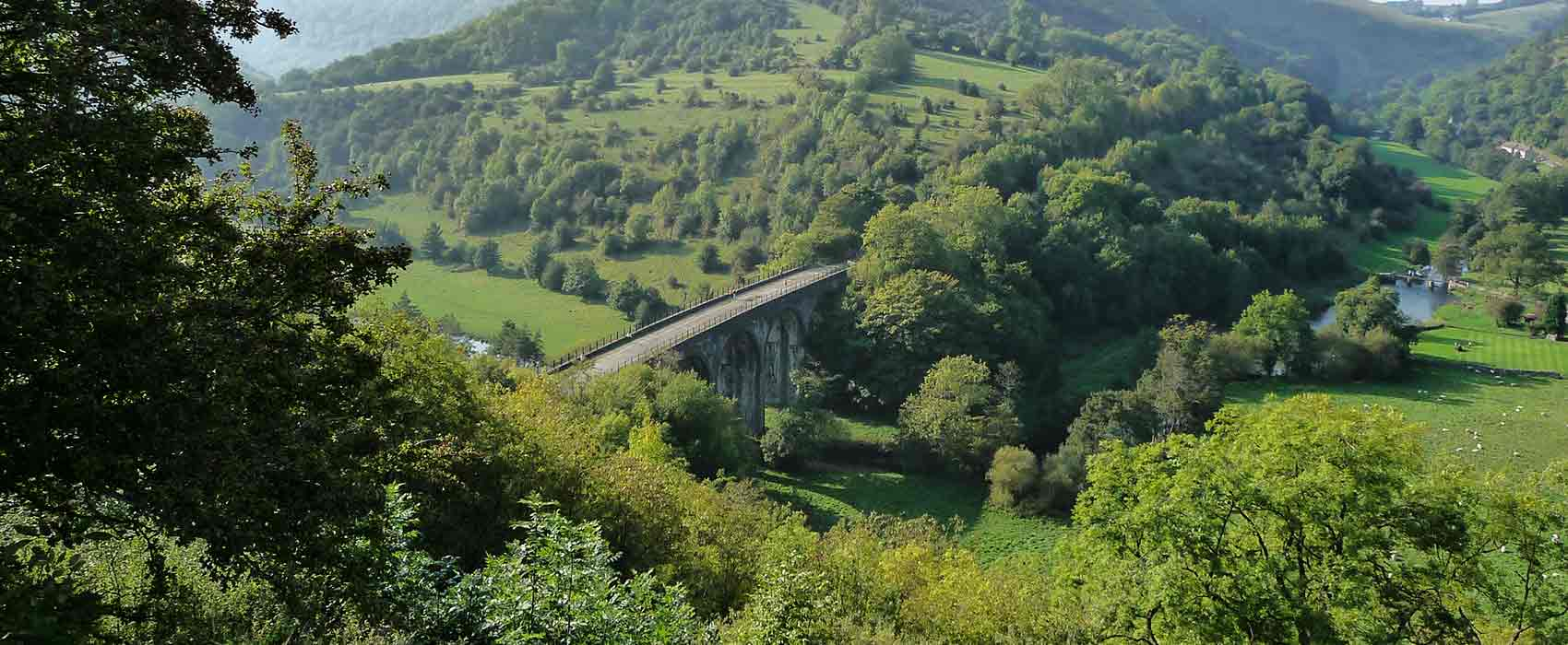 Monsal Dale aqueduct over river