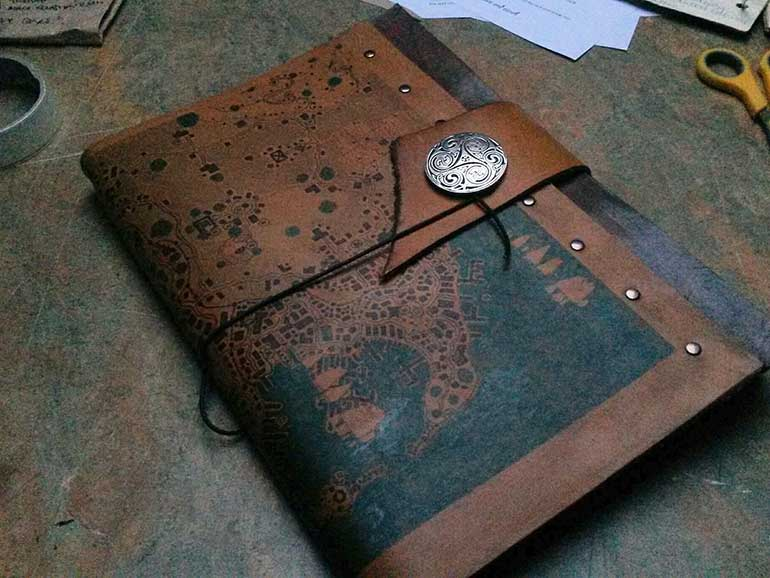 Leather stitched book