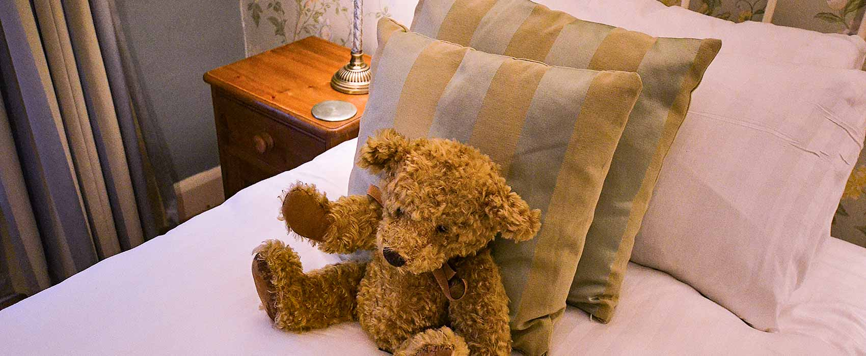 Teddy sitting on a made bed with cushions