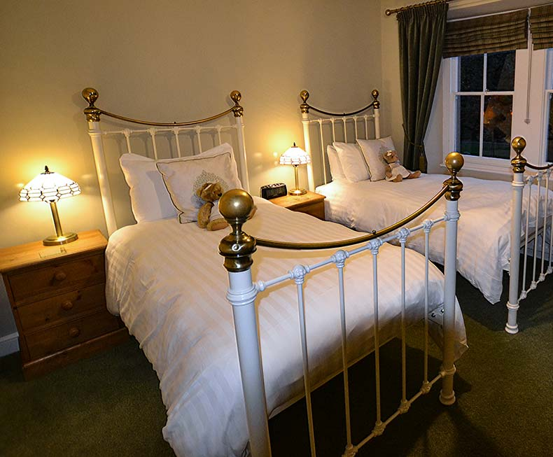 Twin beds with antique brass bedstead