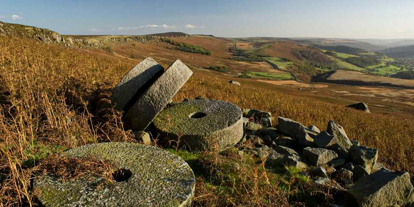 Discarded mill stones on the Peak District