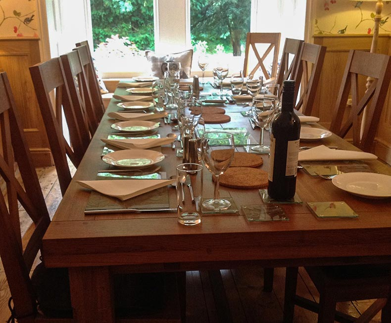 Dining room table set for 12 guests