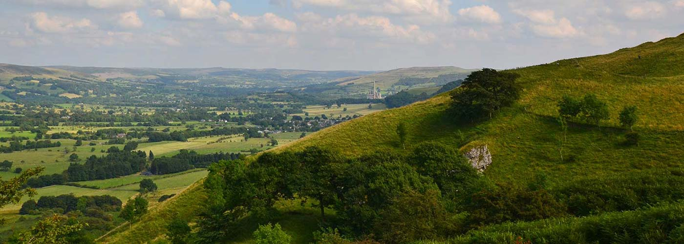 view from hill across Peak District