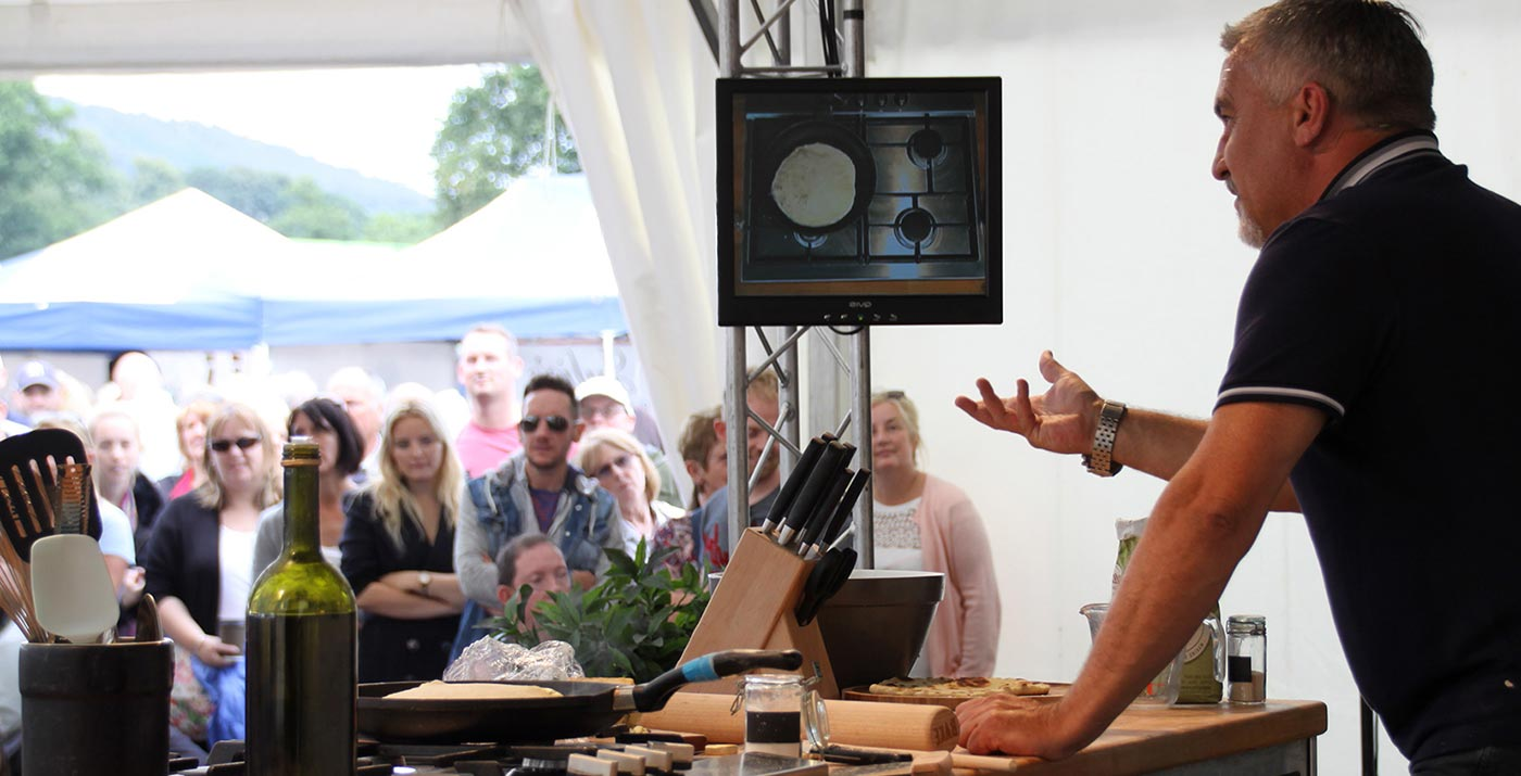 Paul Hollywood giving cooking demo