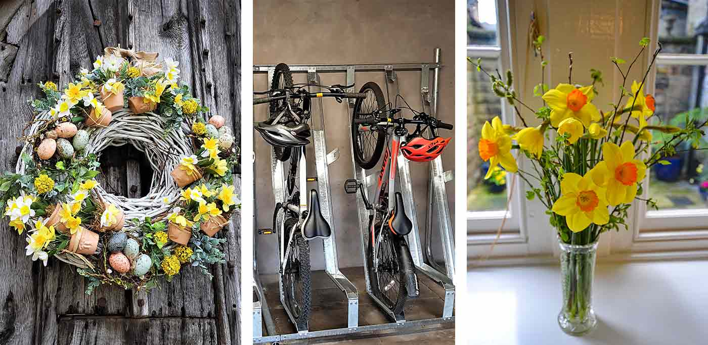 Spring flowers and cycle storage