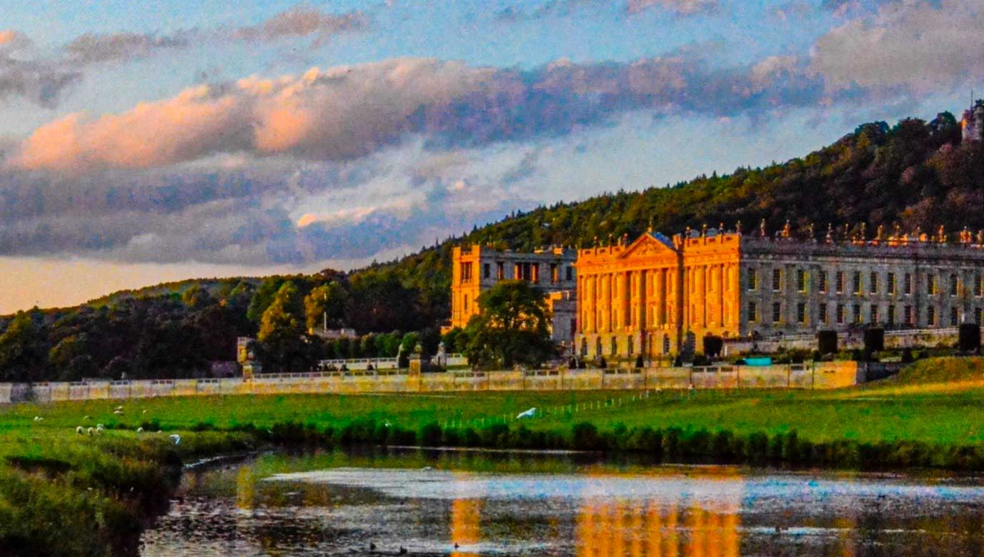 Chatsworth House at sunset