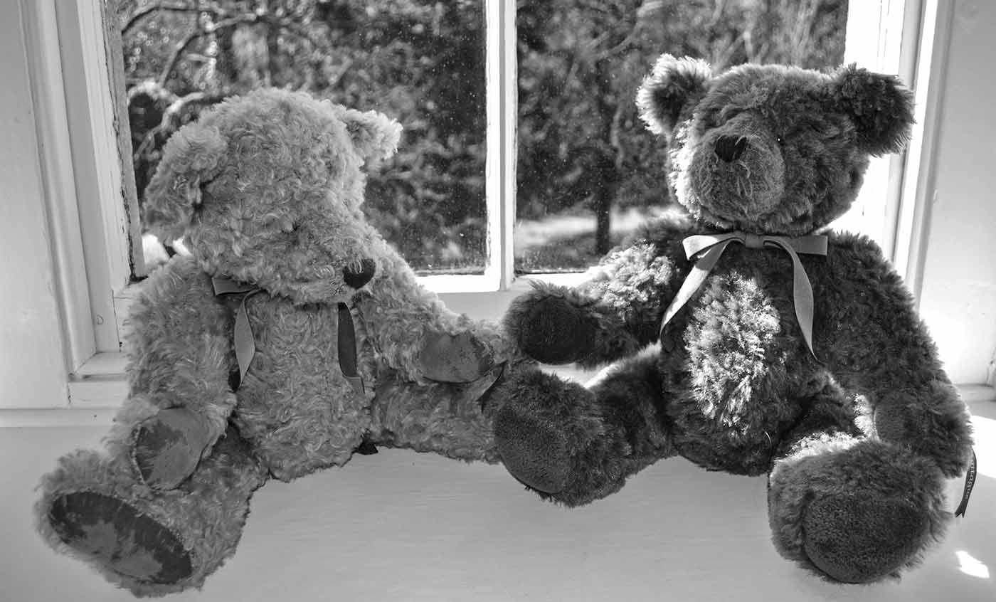 Teddy bears sitting on the window sill