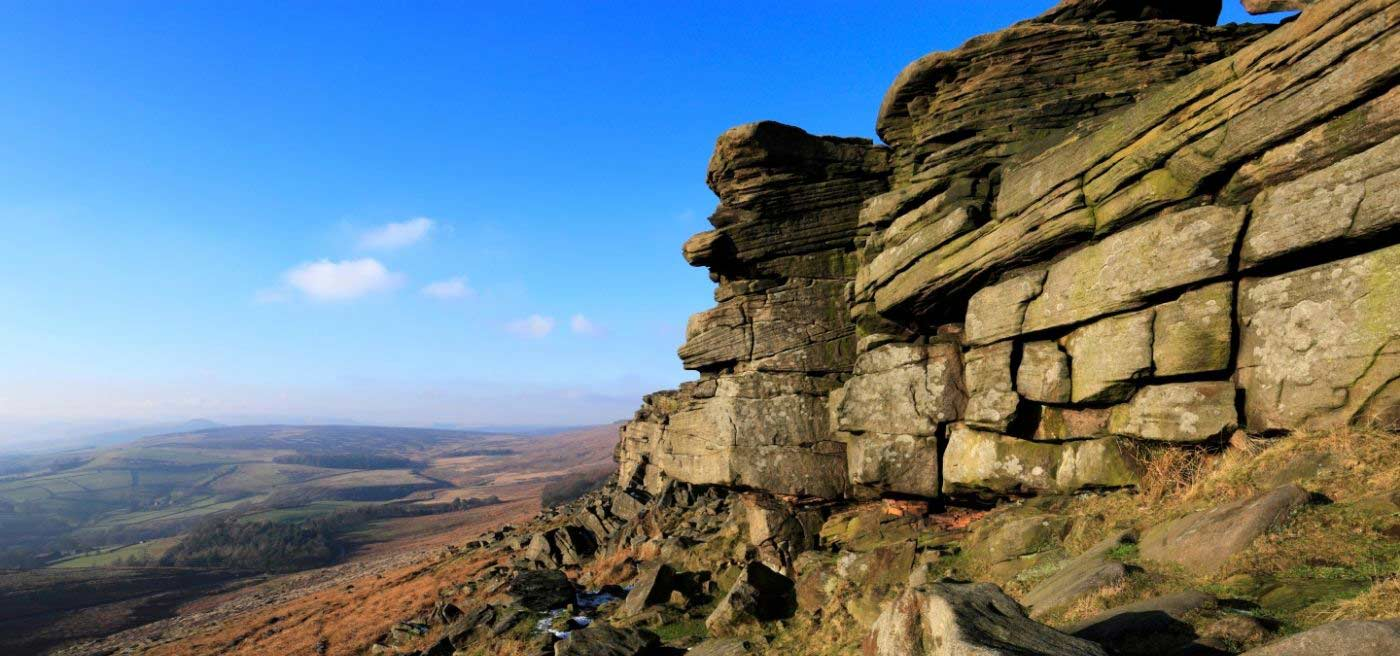 view from Gritstone rocks in Peak District