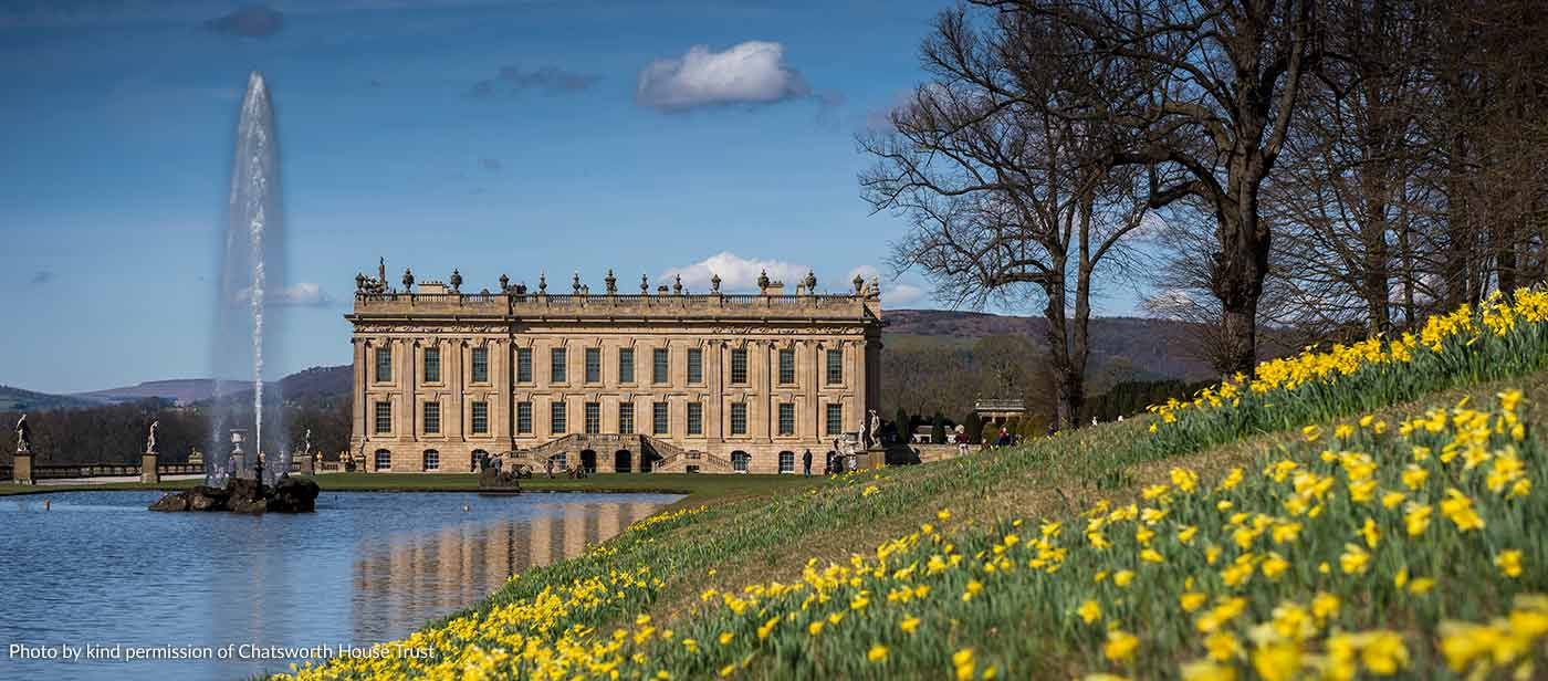 Chatsworth House with the Emperor Fountain in the Spring