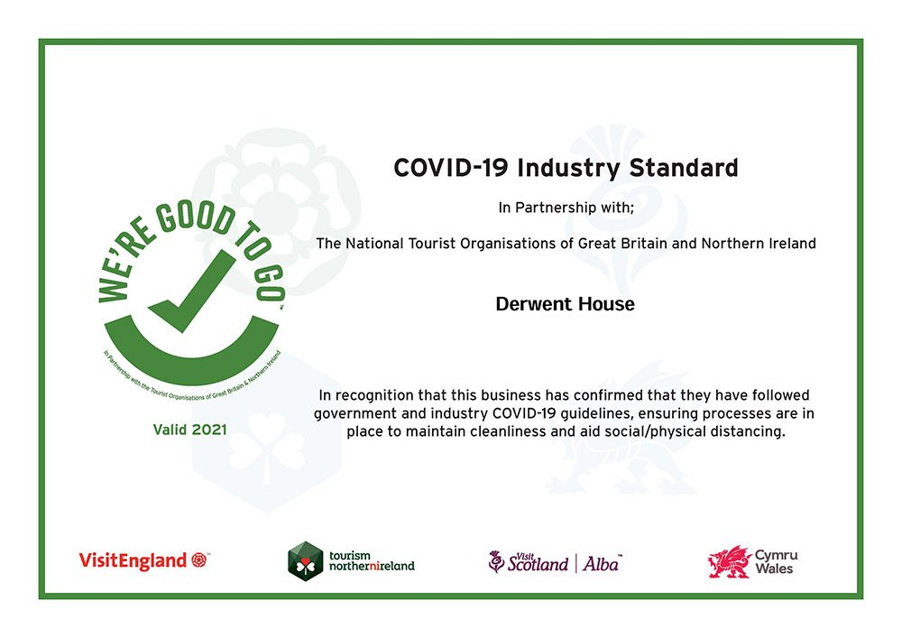 We're good to go certificate for Derwent House 2021