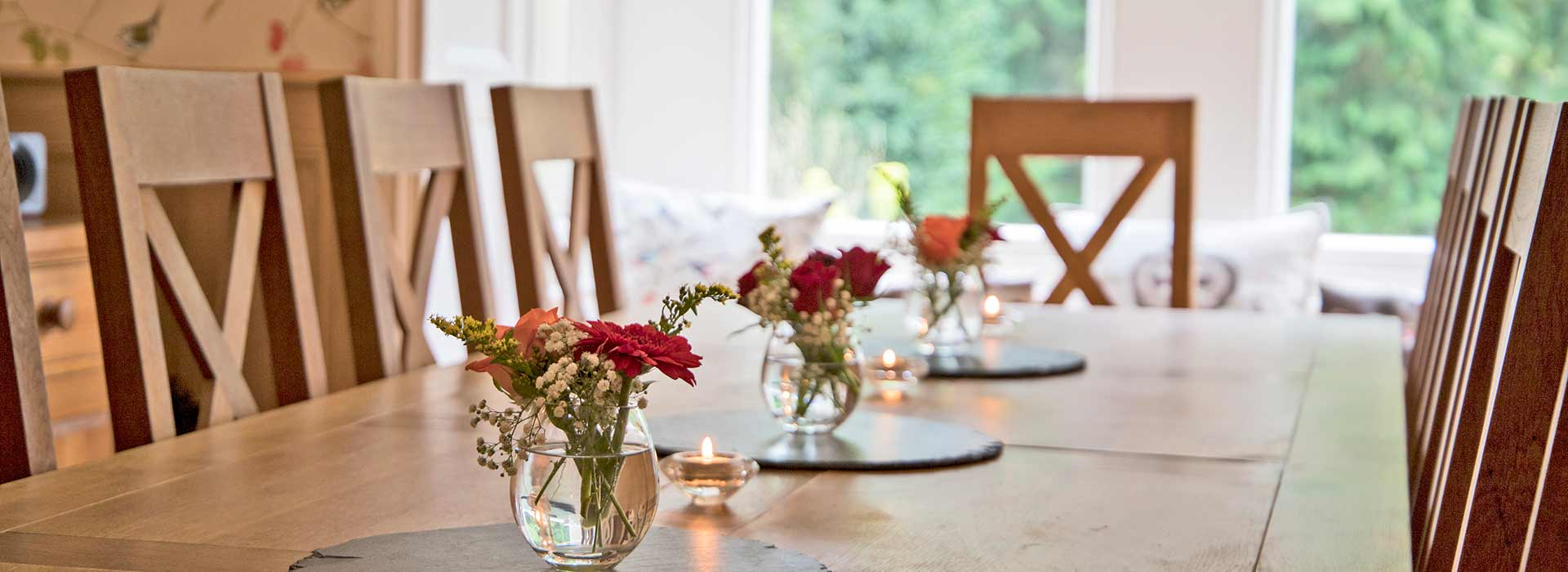 Dining room table with fresh flowers