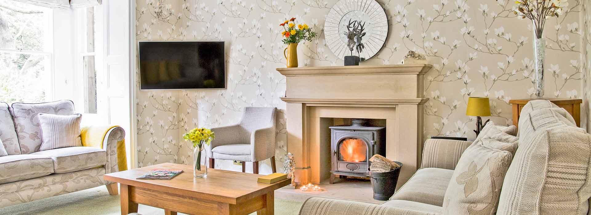 Large sitting room with wood burner